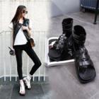 Faux-leather Cutout Flat Sandals