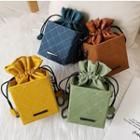 Argyle Stitched Drawstring Square Bucket Bag