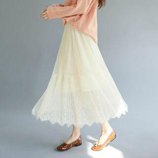 Lace-overlay Long Flare Skirt