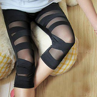 Mesh Panel Leggings Black - One Size