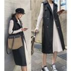Faux Leather Long Vest Black - One Size