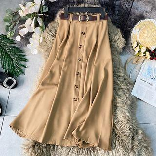 Button-detail High-waist Midi Skirt