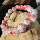 Ceramic Bead Bracelet White & Red - One Size