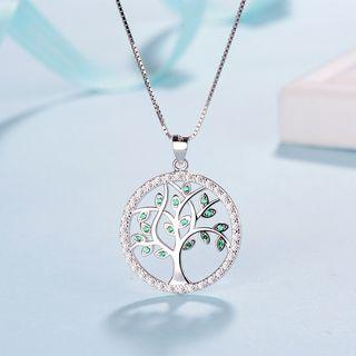925 Sterling Silver Rhinestone Tree Pendant Necklace Without Necklace - Pendant - One Size