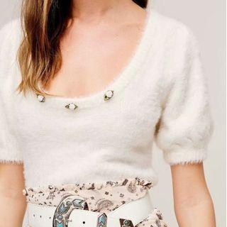 Puff-sleeve Flower Accent Knit Top White - One Size
