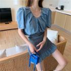 Short-sleeve Denim Dress As Figure - One Size