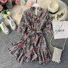 Elbow-sleeve Floral Print Plaid Playsuit Gray - One Size