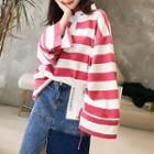 Bell-sleeve Striped Polo Shirt