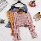 Ruffle Hem Ruched Plaid Cropped Top