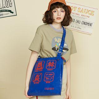 Printed Tote Bag Blue - One Size