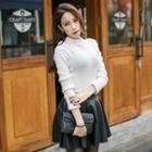 Mock-neck Colored Knit Top