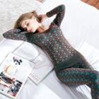 Loungewear Set: Patterned Long-sleeve Top + Leggings