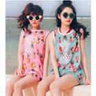 Set: Plain Bikini + Printed Sleeveless Top