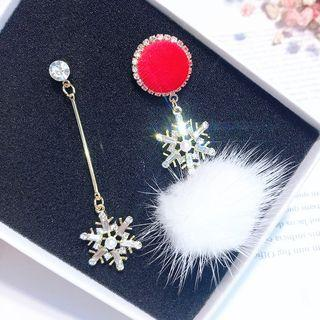 Non-matching Bobble Rhinestone Snowflake Dangle Earring As Shown In Figure - One Size