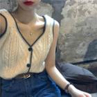Contrasted Cable-knit Vest White - One Size