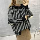Elbow-applique Striped Hooded Sweatshirt