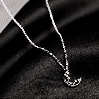 925 Sterling Silver Rhinestone Moon & Star Pendant Necklace 1 Pc - 925 Sterling Silver Rhinestone Moon & Star Pendant Necklace - One Size