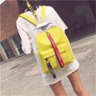 Lettering Strap Colour Block Canvas Backpack