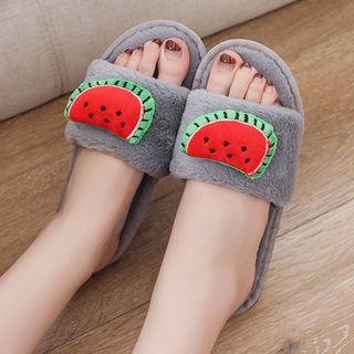 Fruit Accent Furry Slippers