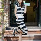 Hooded Sleeveless Striped Midi Pullover Dress