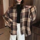 Vintage Plaid Long-sleeve Blouse