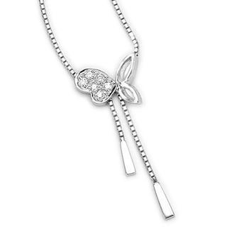 18k White Gold Pave Round Diamond Butterfly Lariat Necklace (0.05 Ct) (free 925 Silver Box Chain, 16)