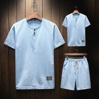 Set: Buttoned Short-sleeve T-shirt + Drawstring Shorts