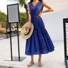 Plain Tiered Sleeveless Midi Dress
