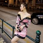 Short-sleeve Cold Shoulder Floral Printed Mini Dress