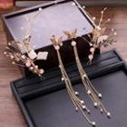 Wedding Set: Butterfly Headpiece + Drop Earring Gold - One Size