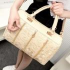 Faux Leather Lace Panel Hand Bag