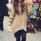 Hooded Chunky-knit Dipback Sweater