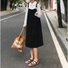 Long Sleeve Plain Blouse / Loose-fit Jumper Dress