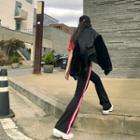 Contrast-trim Boot-cut Pants Black - One Size