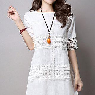 Crochet Trim Elbow Sleeve T-shirt Dress