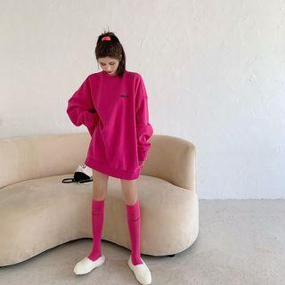 Long-sleeve Letter Embroidered Oversize Sweatshirt