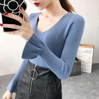 Bell-sleeve Open Back Drawstring Knit Top