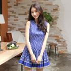 Sleeveless Dot-patterned A-line Dress