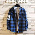 Plaid Lettering Long-sleeve Shirt