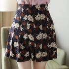 Pleated Floral Print Mini Skirt