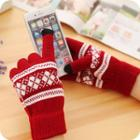 Argyle Patterned Touchscreen Gloves