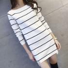 Striped Long-sleeve Mini Dress