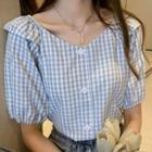 V-neck Plaid Buttoned Shirt