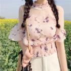 Mesh Panel Floral Short-sleeve Top