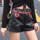 Embroidered Faux Leather Wide-leg Shorts