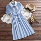 Short-sleeve Embroidered Gingham A-line Midi Shirt Dress