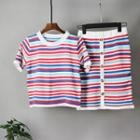 Set: Short-sleeve Striped Knit Top + Knit Pencil Skirt Stripes - Multicolor - One Size