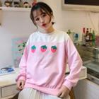 Strawberry Print Color Panel Pullover