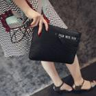Letter Faux Leather Clutch