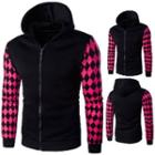 Patterned Sleeve Zipped Hooded Jacket